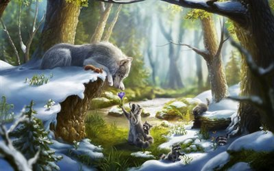 winter forest, fantasy, raccoon, wolf, art, lilies of valley