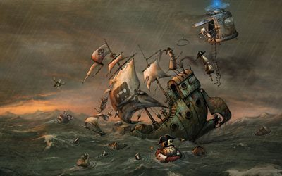 steampunk, robots, art, fantasy, pirates, shipwreck