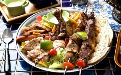 skewers, meat, vegetables, kebab