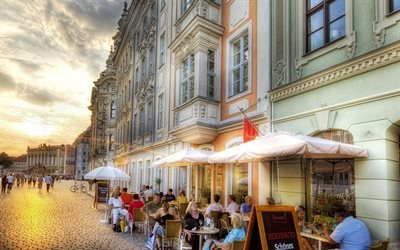 street, sunset, cafe, dresden, germany