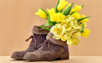 bouquet, yellow tulips, suede shoes