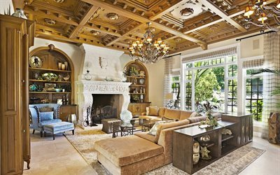 wooden ceiling, upholstered furniture