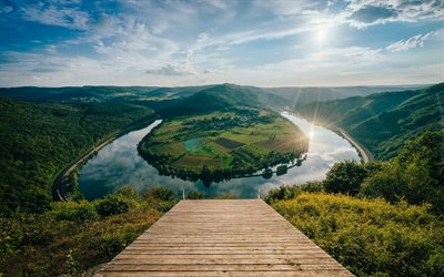 Germany, summer, Moselle river, bend, Rhineland-Palatinate