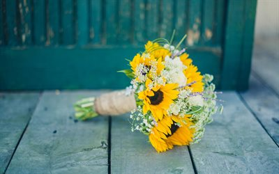 Yellow wedding bouquet, yellow gerberas, bridal bouquet, yellow flowers, bouquets of gerberas