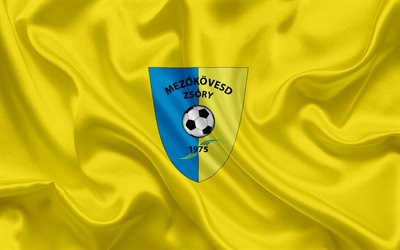 Mezokovesd SE, Hungarian football team, emblem, Mezokoveshd logo, silk flag, Mezokoveshd, Hungary, football, Hungarian football league