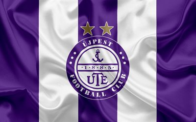 Ujpest FC, Hungarian Football Club, Ujpest emblem, logo, silk flag, Budapest, Hungary, football, Hungarian football league