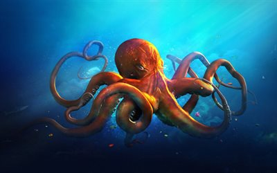 Octopus, underwater world, art, creative