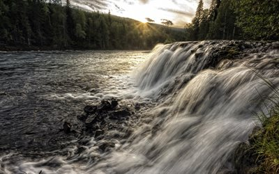 Sunset, river, forest, waterfall, Thompson-Nicola, Canada, British Columbia