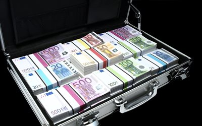 Suitcase with money, euro, banknotes, money, mountain of money