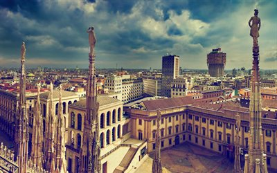 Milan, 4k, cityscapes, architecture, Italy