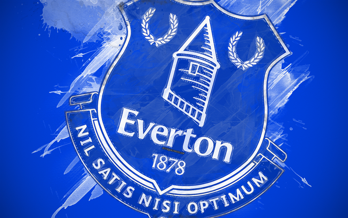 Download Wallpapers Everton FC, 4k, Paint Art, Logo