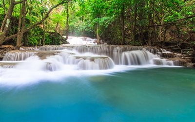 waterfalls, tropical forest, Thailand, turquoise water, beautiful landscape, forest