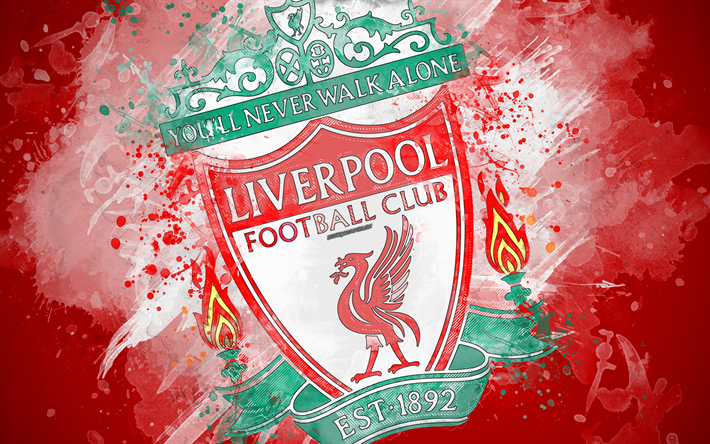 Download Wallpapers Liverpool FC, 4k, Paint Art, Logo