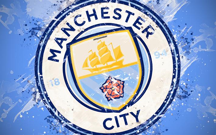 Download Imagens O Manchester City Fc 4k A Arte De Pintura Logo Criativo Equipe De Futebol Inglesa Premier League Emblema Fundo Azul O Estilo Grunge Manchester Inglaterra Reino Unido Futebol Gratis Imagens