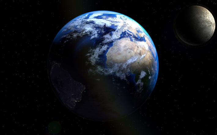 Scarica Sfondi 4k Terra Luna Pianeta Luna Galassia Satellite