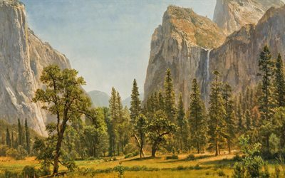 rocks, mountains, waterfalls Bridalveil Fall, USA, Yosemite California Albert Bierstadt