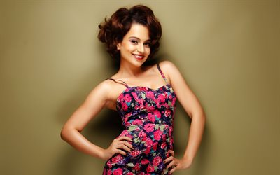 Kangana Ranaut, 4K, Indian actress, Bollywood, smile, dress with flowers, makeup, brunette, Indian women