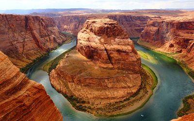 Horseshoe Bend, 4k, rocks, river, Glen Canyon, America, USA