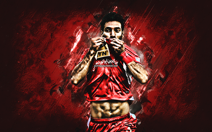 Download Wallpapers Shoja Khalilzadeh Persepolis Fc Iranian Football Player Portrait Red Creative Background Persian Gulf Pro League Football For Desktop Free Pictures For Desktop Free