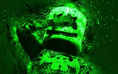 4k, DJ Marshmello, green neon lights, music stars, Christopher Comstock, american DJ, night club, creative, Marshmello Helmet, superstars, Marshmello, DJs