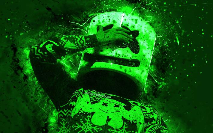Download Wallpapers 4k Dj Marshmello Green Neon Lights