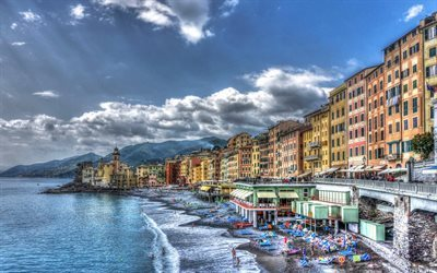 Camogli, sea, coast, resort, Liguria, Italy, Mediterranean Sea
