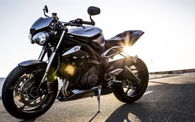 Triumph Street Triple R, 2017, 4k, new motorcycles, sunset, black motorcycle, Triumph