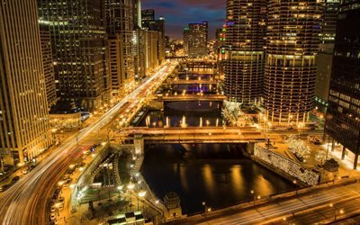 Chicago, roads, night, traffic lights, America, USA