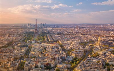 Morning, Paris, Eiffel Tower, the city panorama, France