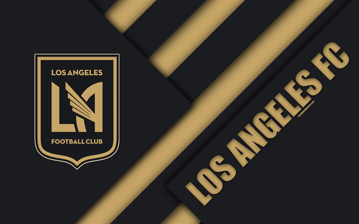 Download wallpapers Los Angeles FC, material design, 4k, logo, brown black abstraction, MLS ...