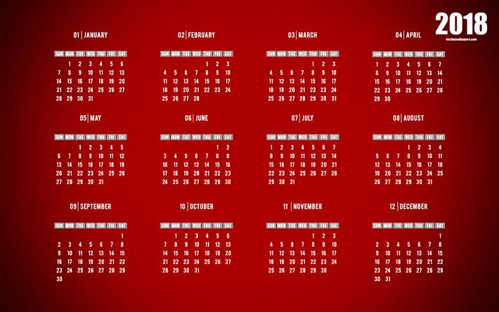 Spring Entdeckung Nein Kalender Hintergrundbilder: Download Wallpapers 2018 Calendar, Red Background, 4k