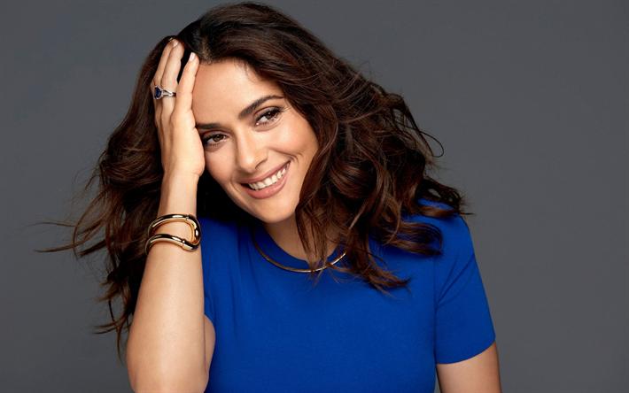 Herunterladen hintergrundbild salma hayek, fotoshooting, blaues ...