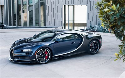 Bugatti Chiron, 2018, hypercar, supercar, blue black Chiron, luxury car, parking, Bugatti