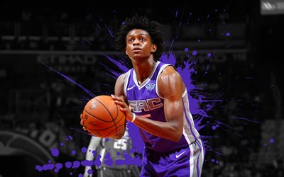 DeAaron Fox, 4k, basketball players, NBA, Sacramento Kings, grunge, basketball, art