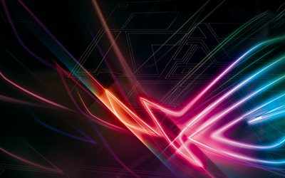 Republic of Gamers, 4k, neon lights, RoG logo, ASUS, abstract logo, RoG, dark background