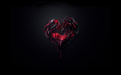 3D heart, 3D art, love concept, black background, artwork, 3D hearts