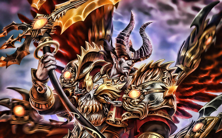 Demonic Thanatos, warrior, Smite characters, manga, MOBA, Smite