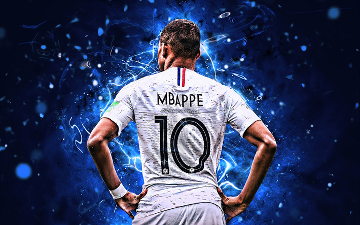 newest 3d95b 1225e Download wallpapers Kylian Mbappe, back view, France ...