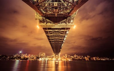 Sydney, Harbour Bridge, Australia, night, lights, cityscape