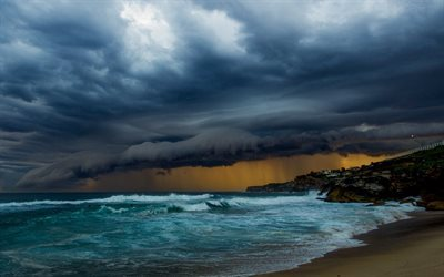 sea, storm, storm clouds, beach, coast