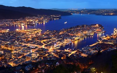 Bergen, Norway, coast, evening, Hordaland, Western Norway, North Sea, harbor