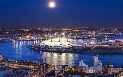 football stadium, O2 Arena, London, Thames, England