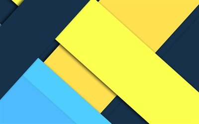 yellow blue abstraction, material design, android, geometric abstractions