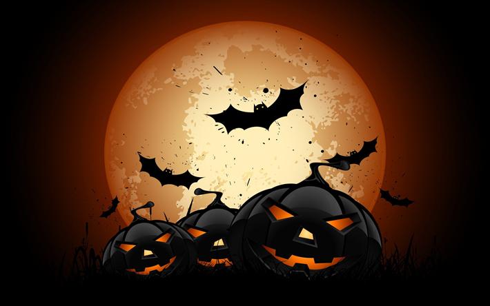 Download Wallpapers Halloween Pumpkins Night Bats October 31 Orange Moon For Desktop Free Pictures For Desktop Free