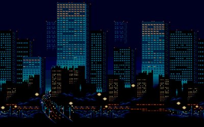 skyscrapers, nightscapes, 8 bit, creative, art, buildings