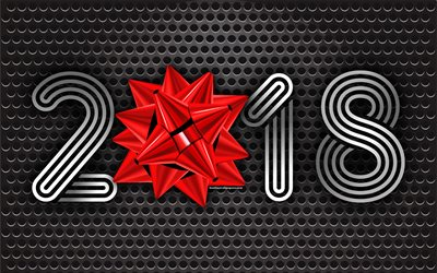 2018 New Year, silk bow, metal background, 2018 concepts, New Year