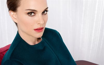 Natalie Portman, American actress, green dress, portrait, make-up, beautiful woman, American celebrities