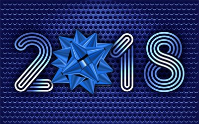2018 New Year, 4k, blue metallic background, blue silk bow, 2018 concepts, New Year, metallic mesh
