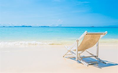 beach, chaise lounge, tropical island, seascape, rest, relax, sea