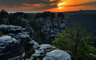 sunset, rocks, mountains, valley, Oberrathen, Saxony, Germany